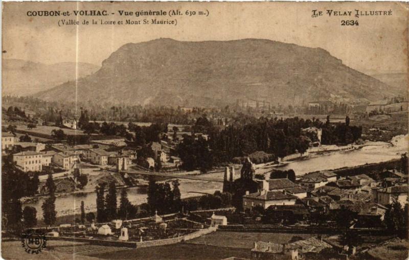 Carte postale ancienne Coubon-et-Volhac - Vue generale (Alt 650 m) -Vallee de la Loire et à Coubon