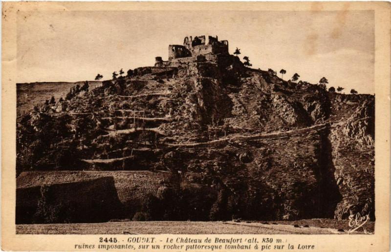 Carte postale ancienne Goudet - Le Chateau de Beaufort (alt 830 m) ruines imposantes à Goudet