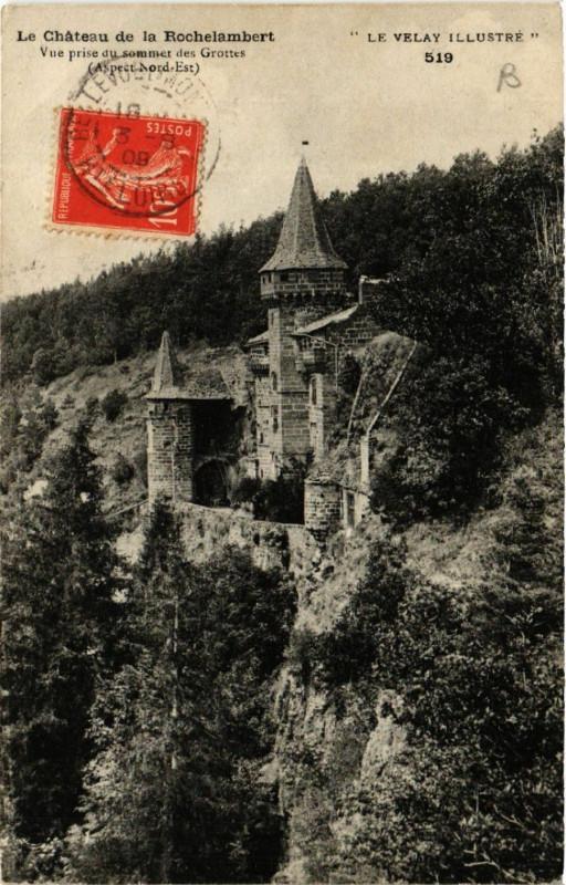 Carte postale ancienne Le Chateau de la Rochelambert - Vue prise du sommet des Grottes