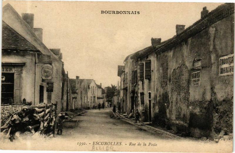 Carte postale ancienne Escurolles-Rue de la Poste à Escurolles