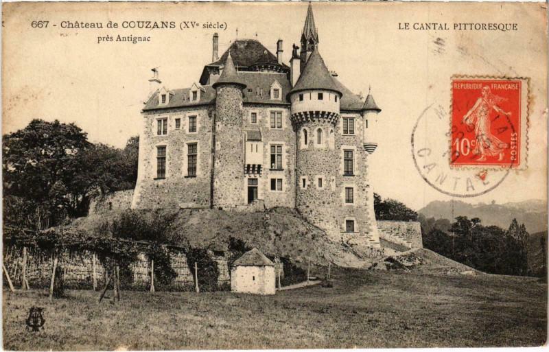 Carte postale ancienne Chateu de Couzans prés Antignac Cantal à Antignac