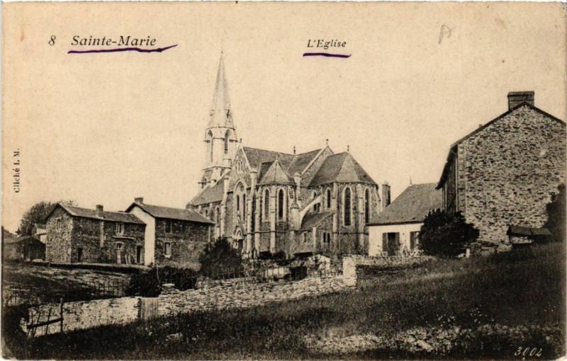 Carte postale ancienne Sainte-Marie - L'Eglise à Sainte-Marie
