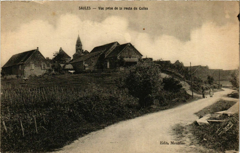 Carte postale ancienne Saules Vue prise de la route de Culles France à Saules