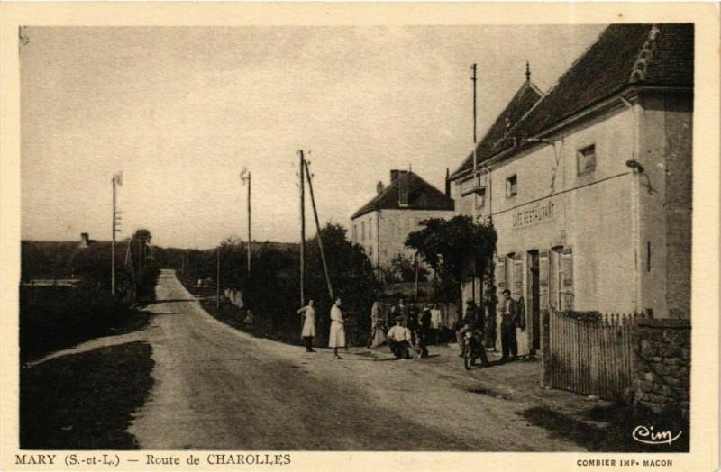 Carte postale ancienne Mary Route de Charolles à Mary