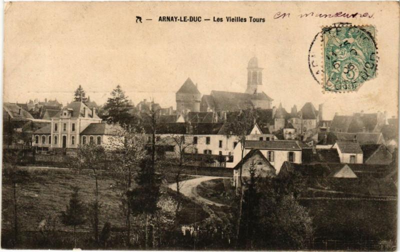 Carte postale ancienne Arnay-le-Duc - Les Vieilles Tours à Arnay-le-Duc