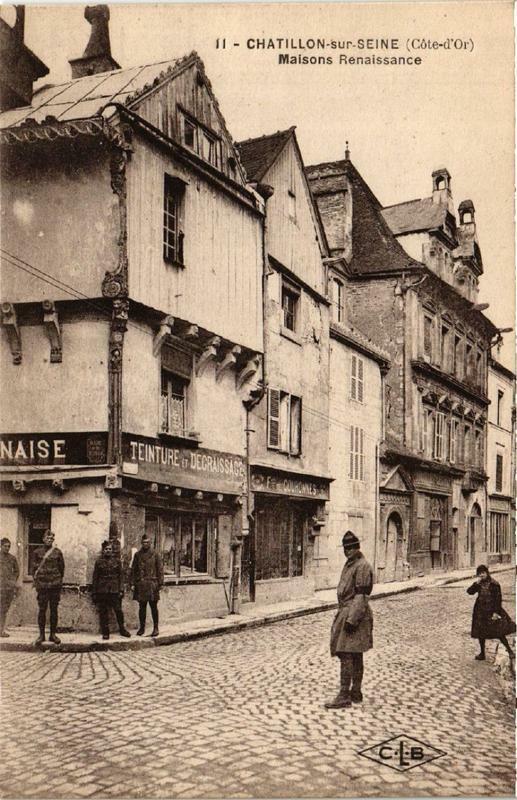 Carte postale ancienne Chatillon-sur-Seine Maisons Renaissance à Châtillon-sur-Seine