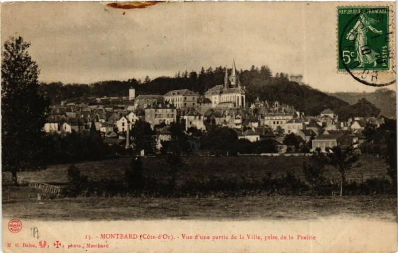 Carte postale ancienne Montbard (Cote-d'Or) - Vue d'une partie de la Ville, prise de la...(586468) à Montbard