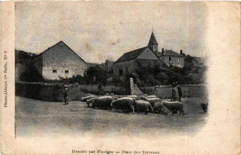 Carte postale ancienne Darcey par Flavigny - Place des Terreaux à Darcey