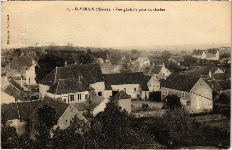 Carte postale ancienne Saint-Verain Vue générale prise du clocher Nievre à Saint-Vérain