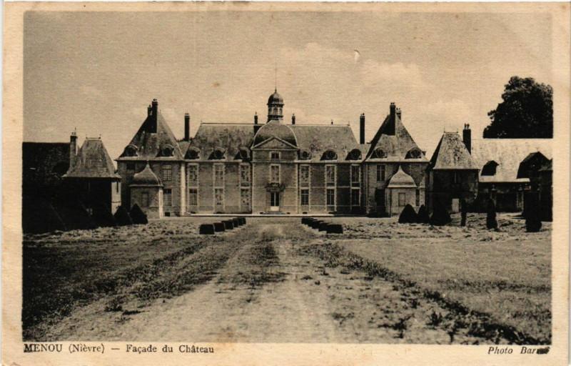 Carte postale ancienne Menou - Facade du Chateau à Menou