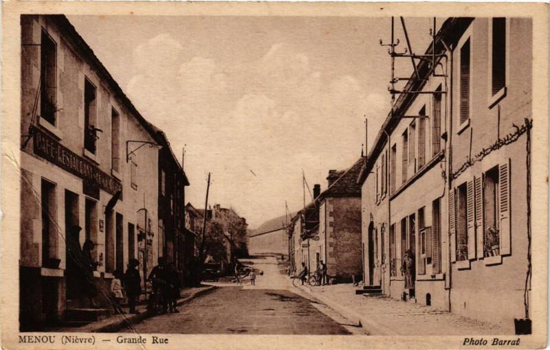 Carte postale ancienne Menou - Grande Rue à Menou
