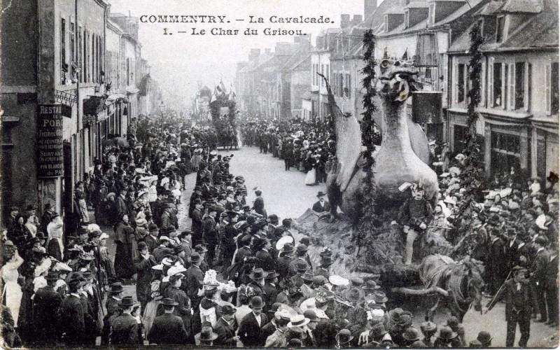 Carte postale ancienne La Cavalcade  1 Le char du Grisou à Commentry