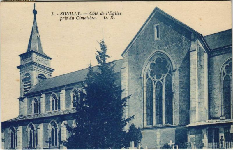 Carte postale ancienne Souilly Cote de l'Eglise pris du Cimetiere à Souilly
