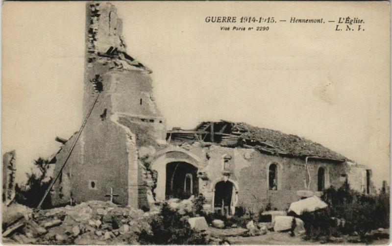 Carte postale ancienne Guerre 1914-1915 Hennemont L'Eglise à Hennemont