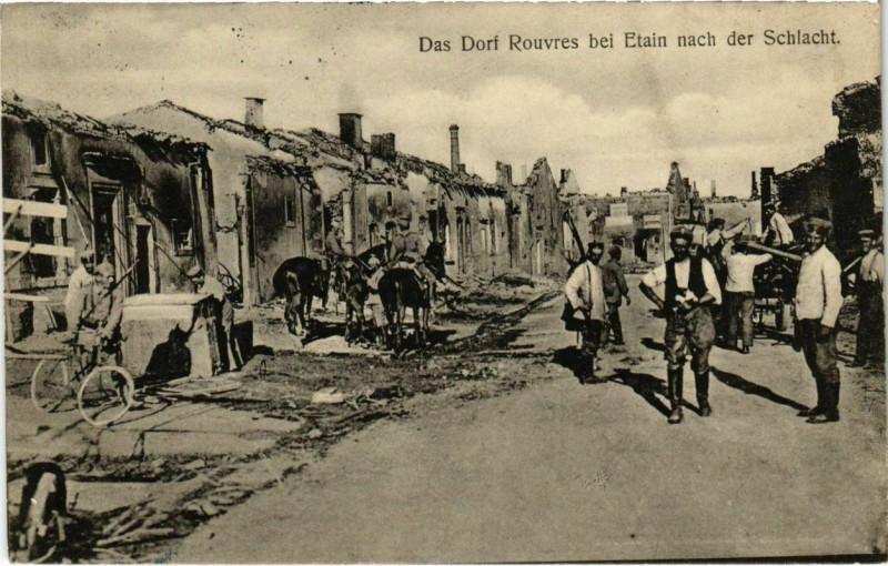 Carte postale ancienne Rouvres-en-Woevre - Rouvres - Rouvres bei Etain - Rue - Ruines à Rouvres-en-Woëvre