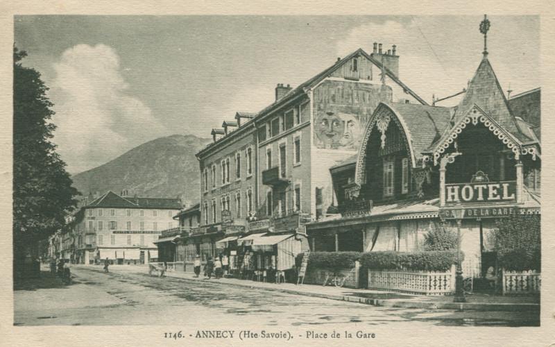 Carte postale ancienne Place de la Gare à Annecy
