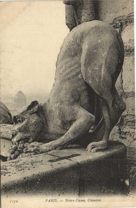 Carte postale ancienne Notre-Dame - Chimère à Paris 4e