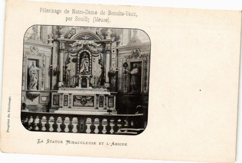 Carte postale ancienne Souilly - La Statue Miraculeuse et l'Abside à Souilly