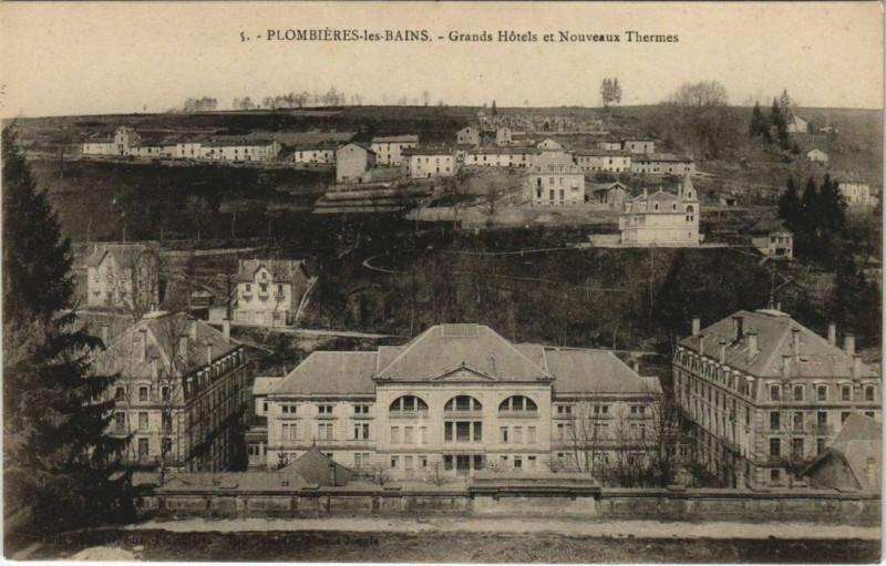 Carte postale ancienne Plombieres-les-Bains Grand Hotels et Nouveaux Thermes à Plombières-les-Bains