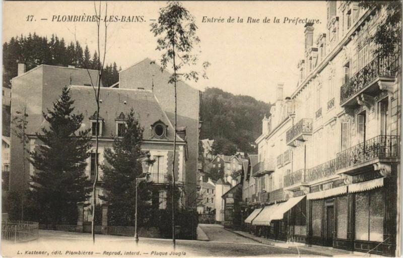 Carte postale ancienne Plombieres-les-Bains Entrée de la Rue de la Prefcture à Plombières-les-Bains