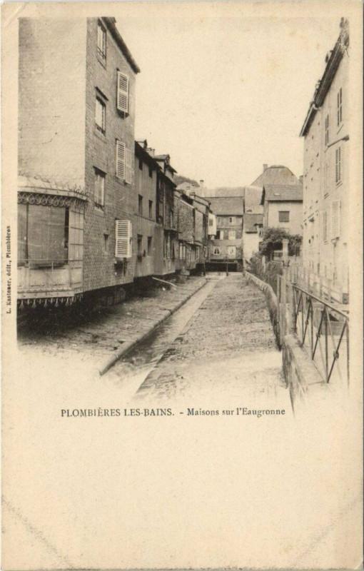 Carte postale ancienne Plombieres-les-Bains Maisons sur l'Eaugronne à Plombières-les-Bains