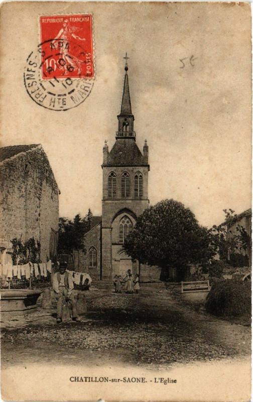 Carte postale ancienne Chatillon-sur-Saone - L'Eglise à Châtillon-sur-Saône