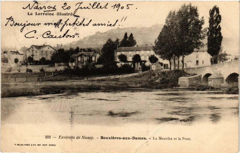 Carte postale ancienne Bouxieres-aux-Dames - Environs de Nancy - La Meurthe et le Pont à Bouxières-aux-Dames
