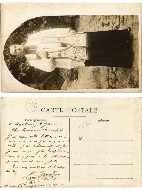 Carte postale ancienne Carte photo Montenoy pretre, priest à Montenoy