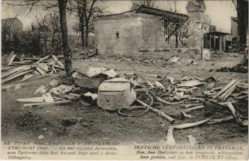 Carte postale ancienne De Tyske Odeleggelser I Erankrig - Evricourt à Évricourt