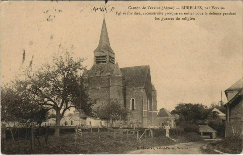 Carte postale ancienne Burelles par Vervins Eglise fortifiee à Burelles