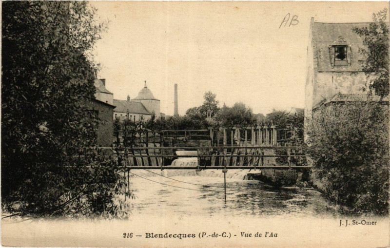 Carte postale ancienne Blendecques Vue de l'Aa à Blendecques