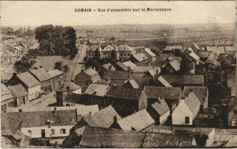 Carte postale ancienne Somain - Vue d'ensemble sur le Maraiscaux à Somain