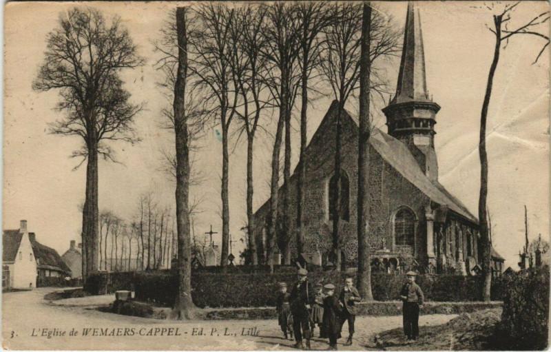Carte postale ancienne L'Eglise de Wemaers-Cappel - Lille à Wemaers-Cappel