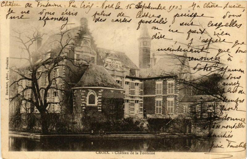 Carte postale ancienne Nord Croix Chateau de la Fontaine à Croix