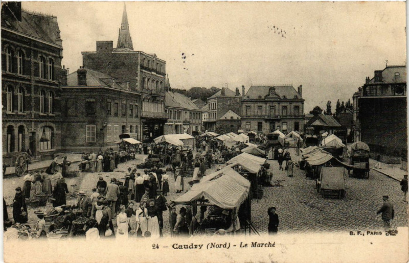 Carte postale ancienne Caudry - Le Marche à Caudry