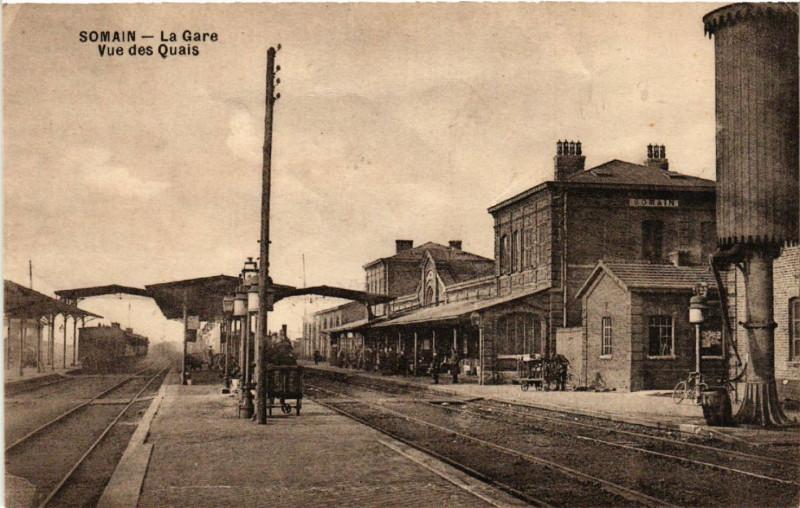 Carte postale ancienne Somain - La Gare - Vue des Quais à Somain