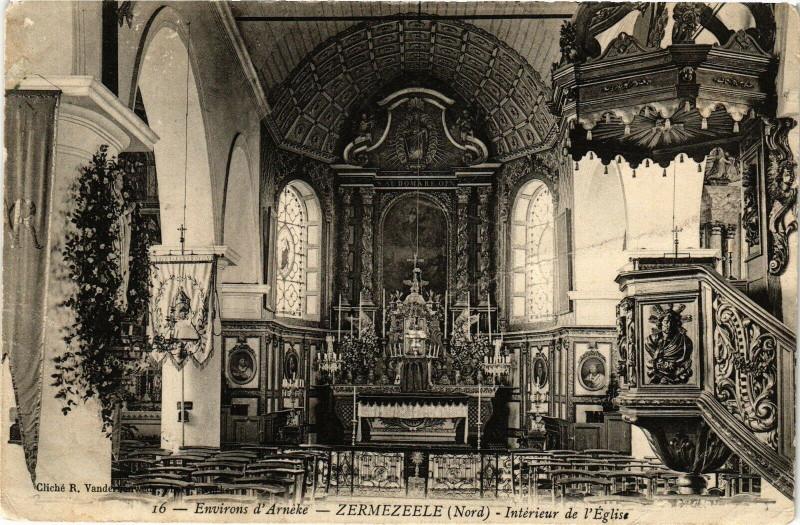 Carte postale ancienne Env. d'Arneke - Zermezéele - Interieur de l'Eglise à Zermezeele