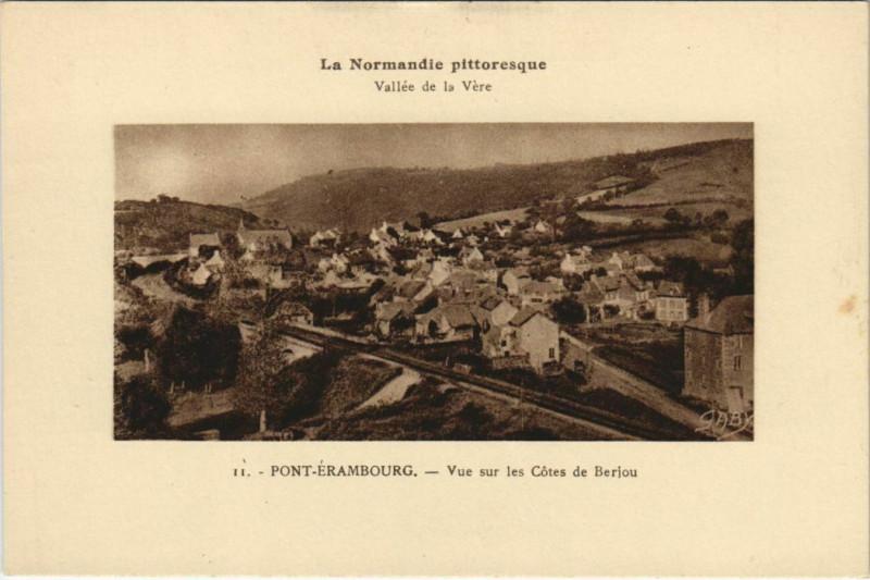Carte postale ancienne Pont-Erambourg Vallée de la Vere Cotes de Berjou à Berjou