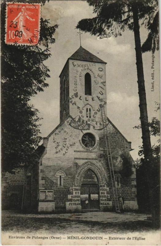 Carte postale ancienne Menil-Gondouin Exterieur de l'Eglise France à Ménil-Gondouin