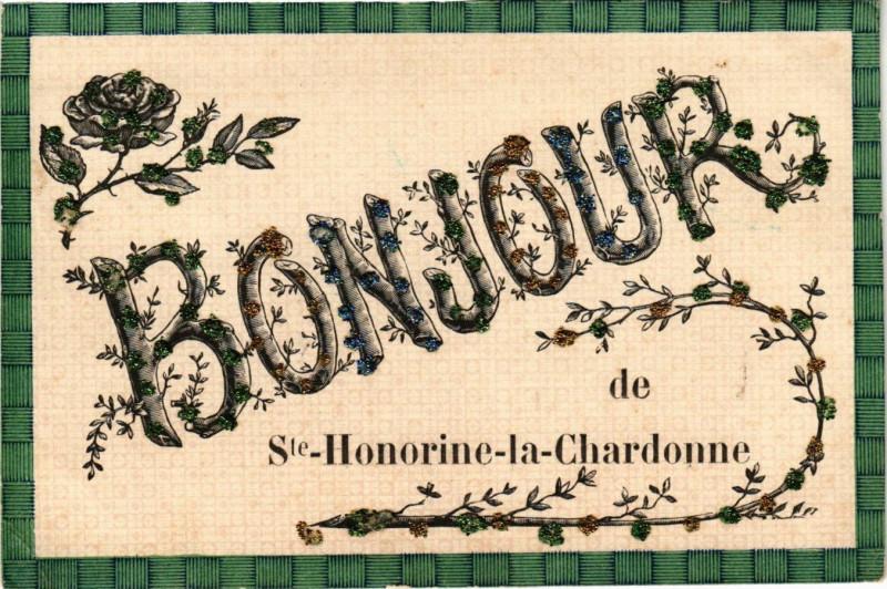 Carte postale ancienne Bonjour de Sainte-Honorine-la-Chardonne à Sainte-Honorine-la-Chardonne