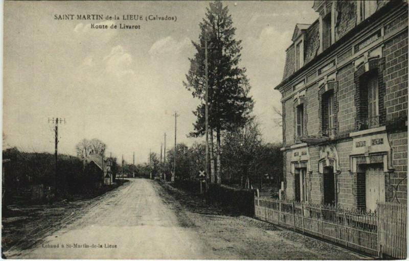 Carte postale ancienne Saint-Martin de la Lieue - Route de Livarot à Saint-Martin-de-la-Lieue
