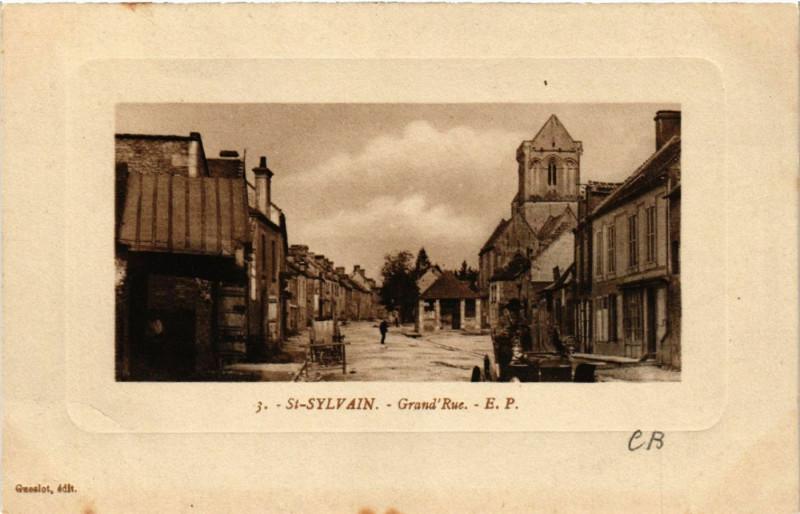 Carte postale ancienne Saint-Sylvain - Grand'Rue à Saint-Sylvain