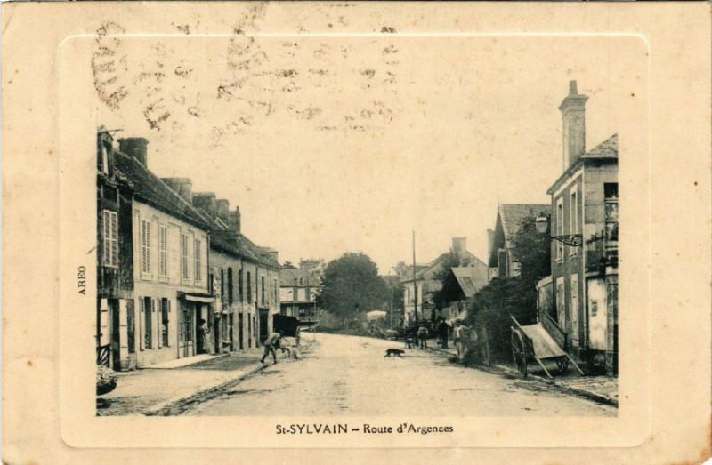 Carte postale ancienne Saint-Sylvain - Route d'Argences à Saint-Sylvain