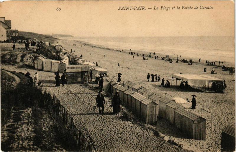 Carte postale ancienne Saint-Pair - La Plage à Saint-Pair