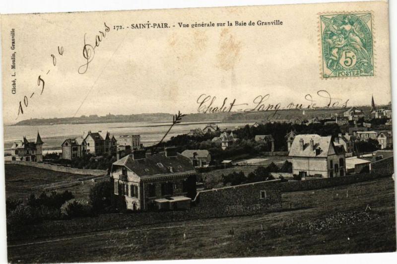 Carte postale ancienne Saint-Pair - Vue générale sur la Baie à Saint-Pair