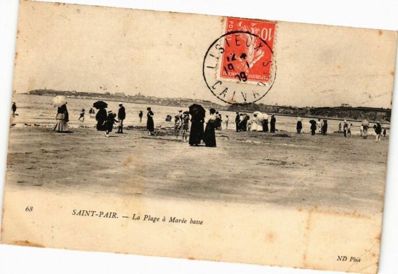 Carte postale ancienne Saint-Pair - La Plage a Maree basse à Saint-Pair