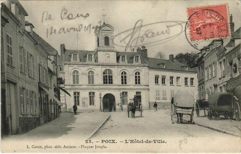 Carte postale ancienne Poix L'Hotel-de-Ville à Poix