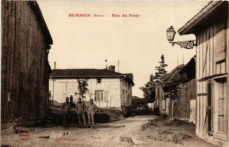 Carte postale ancienne Somsois Rue du Four à Somsois