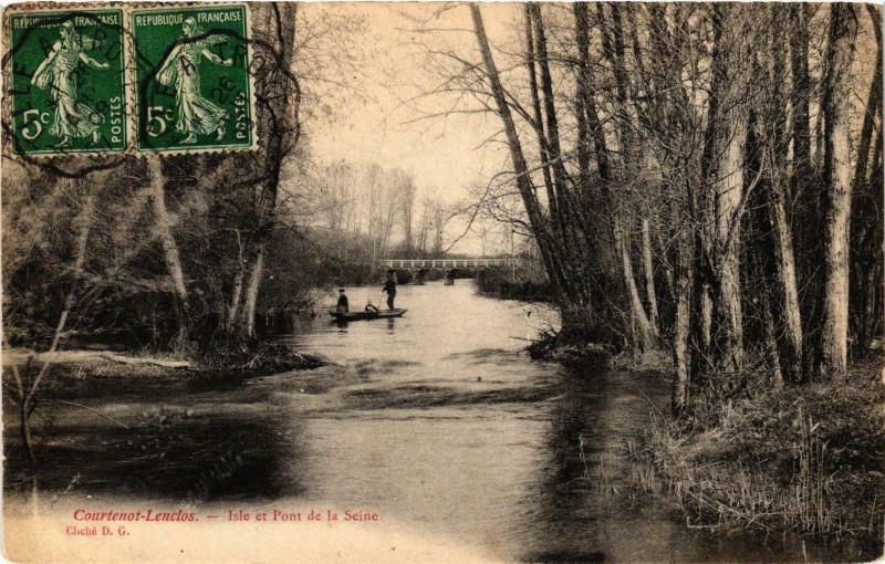 Carte postale ancienne Courtenot Lenclos- Isle et Pont de la Seine France à Courtenot
