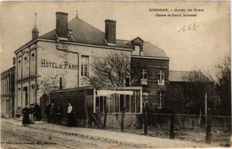Carte postale ancienne Rimogne Hotel de Paris à Rimogne